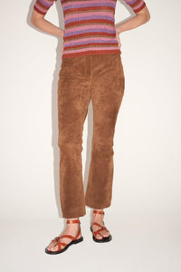 Bootcut suede trousers
