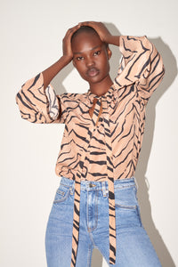 Tiger print silk top