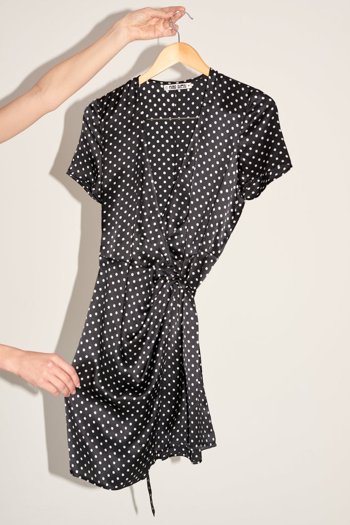 Silk polka dot wrap dress