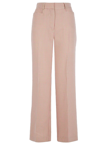Straight Leg Houndstooth Trousers