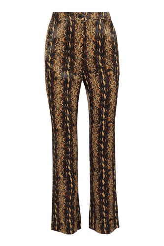 Satin-finish snake print narrow flare trousers