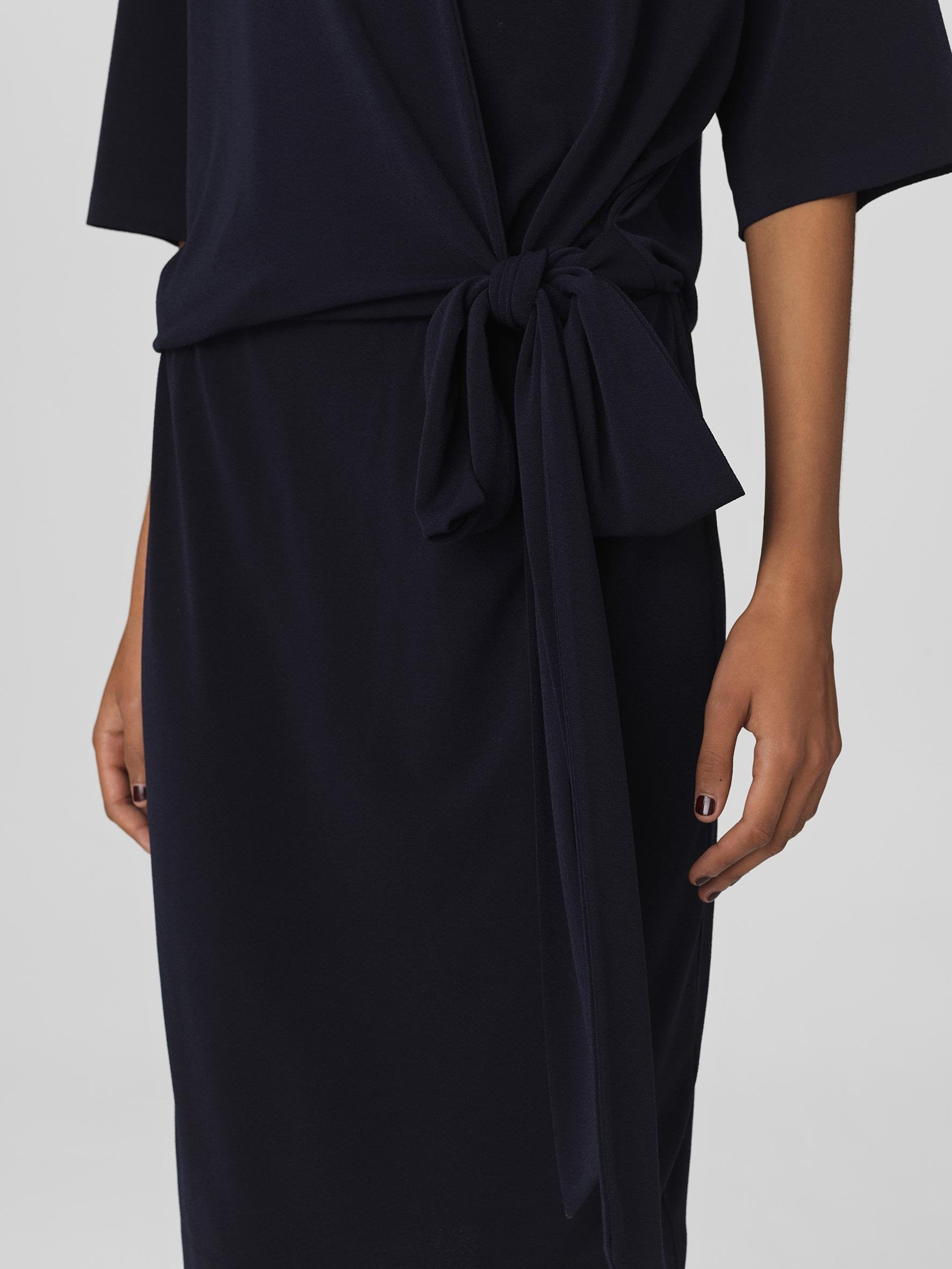 Wrap navy blue dress