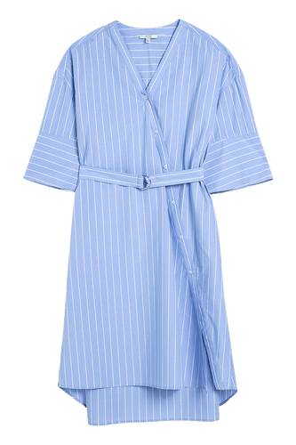 Blue Cotton Striped Dress