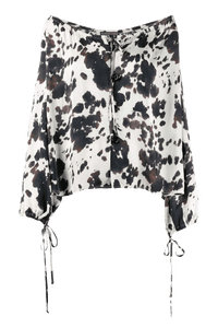 Draped Cow-Print Blouse