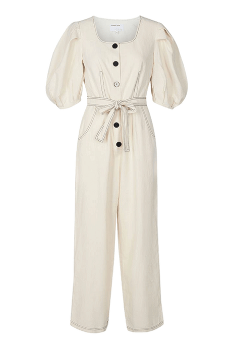 Pleated Sleeve Jumpsuit with Tie Waist