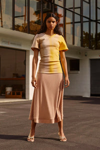 Camel Bias Cut Ribbed Midi Skirt