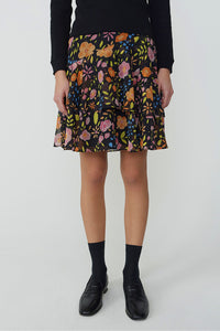 Painterly Floral Ruffle Skirt