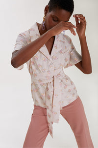 Rose Embroidered Belted Shirt