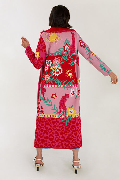 Enchanted Leopard Red and Pink Jacquard Cardigan