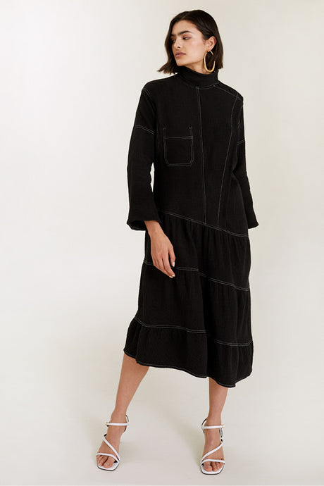 Oversize Top-Stitched Dress
