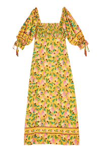 Cashew smocked bodice maxi dress