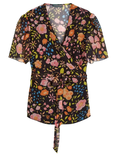 Painterly Floral Wrap Top