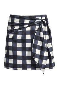 Checked silk mini-skirt