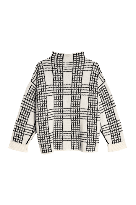 Windowpane Check Lambswool Sweater