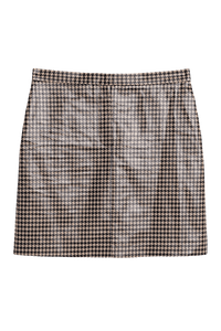 Shiny Check Mini Skirt