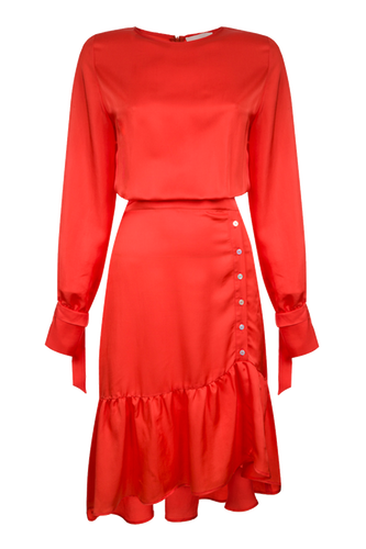 Coral button detail satin finish dress
