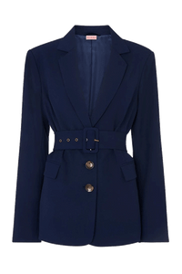 Marla navy kick flare belted suit