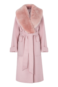 Pink Wool Blend Coat With Faux Fur Collar
