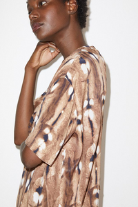 Silk Antelope Print Top