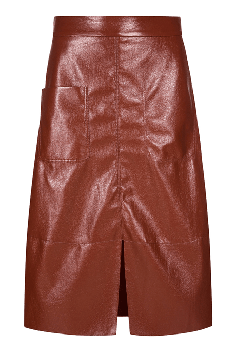 Ravy A-line Faux Leather Midi Skirt