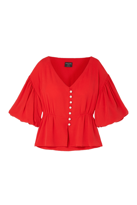 Lyocell Peplum Top with Oversized Sleeves