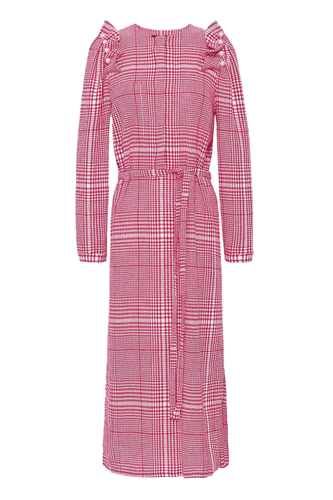 Checked Midi Dress With Faux Pearls