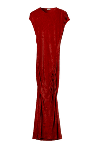 Velour ruched midi dress