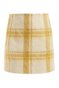 Check Brushed Wool Mini Skirt