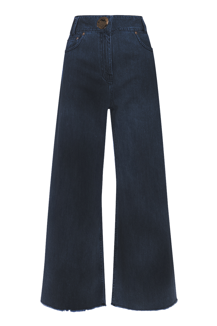 Cropped wide leg jeans
