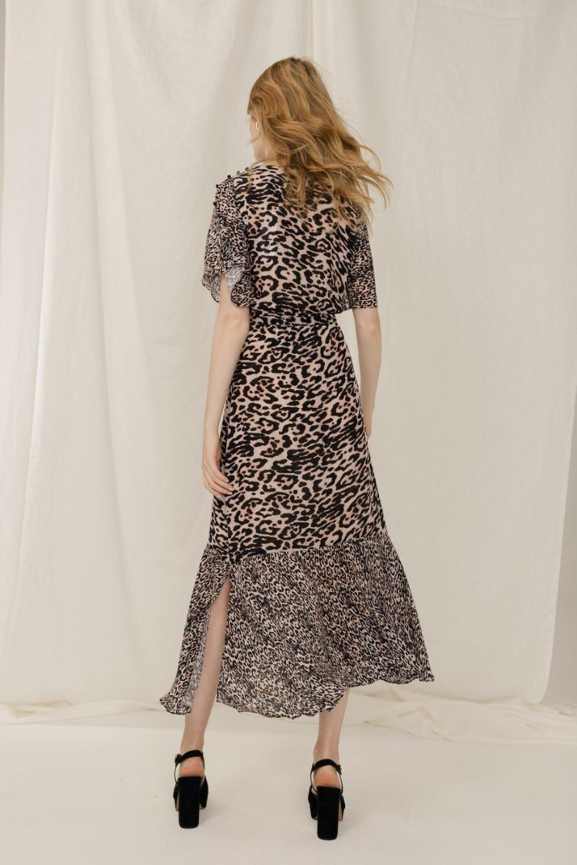 Leopard print crepe midi dress
