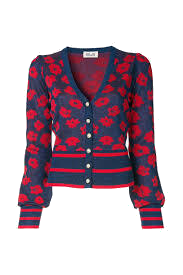 Poppy Print Pearl-Buttoned Cardigan