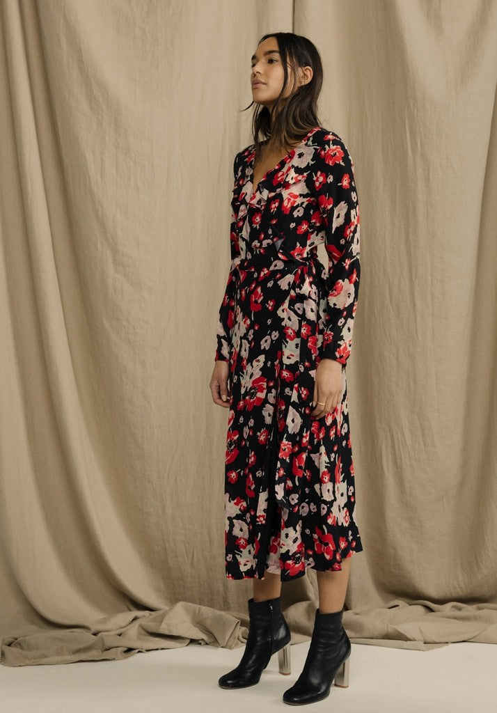 Silk long-sleeved midi dress