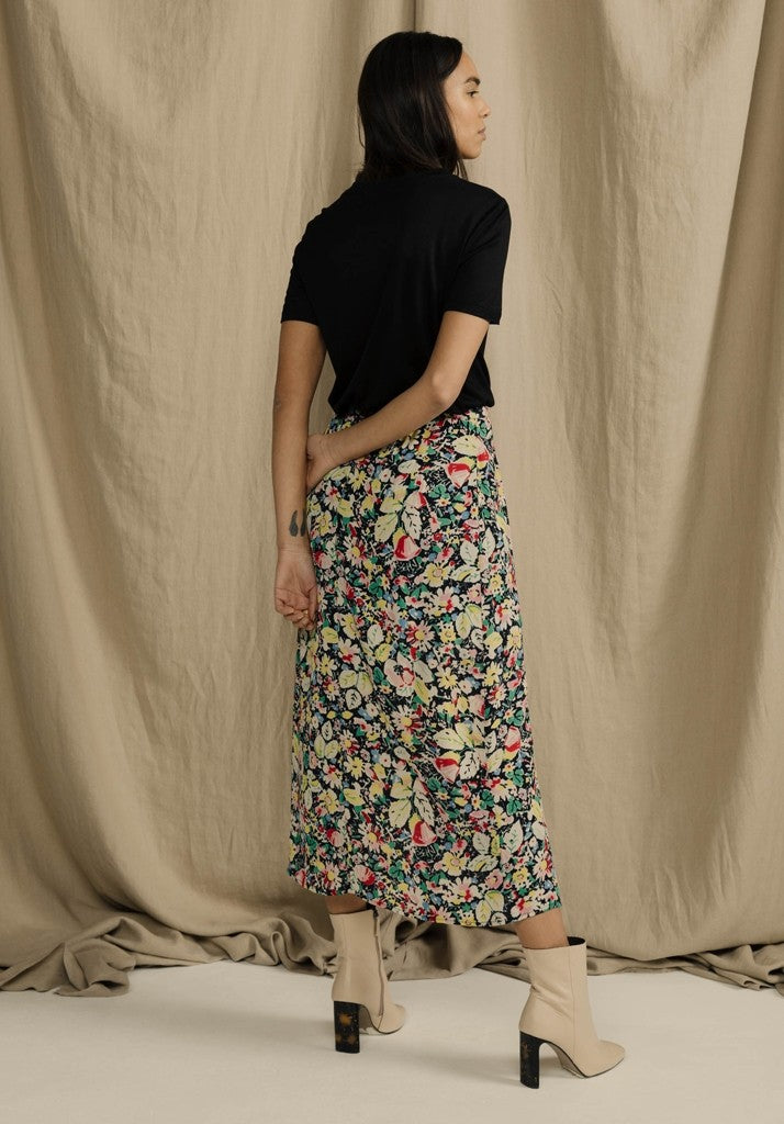 Floral Midi Side Slit Skirt
