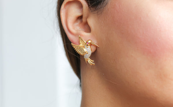 bird earrings gold