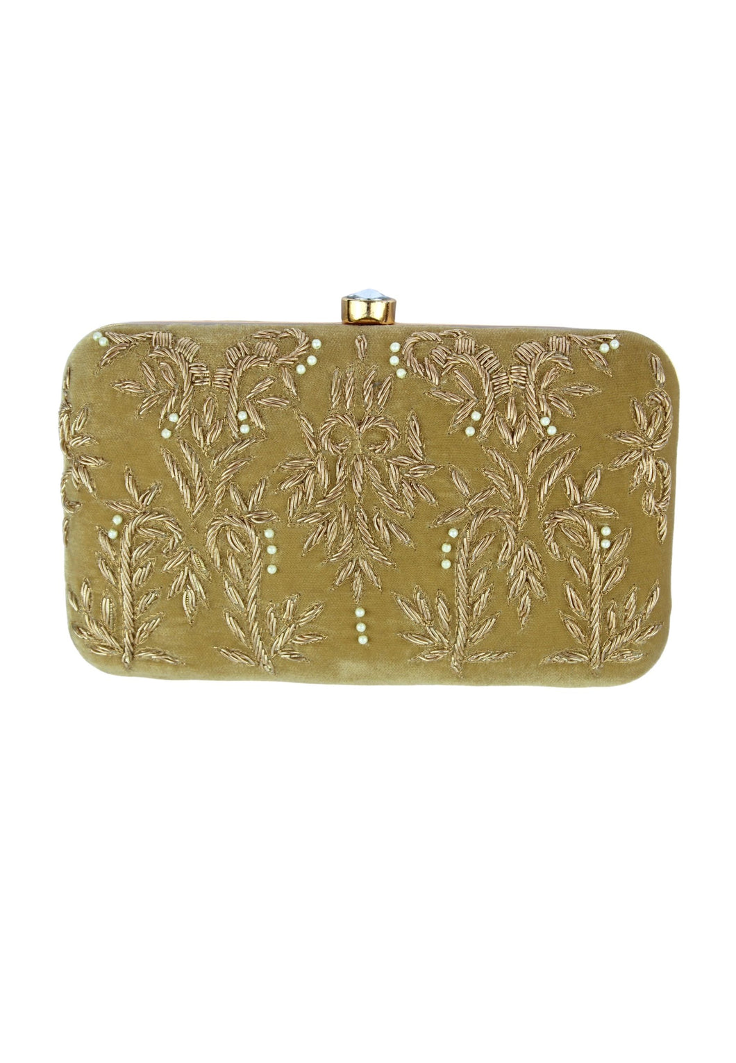 Beige Royal Charm Clutch with Stone Opening