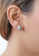 Load image into Gallery viewer, Half-Sun Tear Drop Silver Earrings