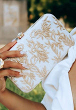 Load image into Gallery viewer, White Royal Charm Clutch with Stone Opening