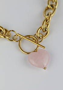 Pure Love Rose Quartz Stone Necklace