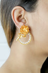 Golden Rose Statement Earrings