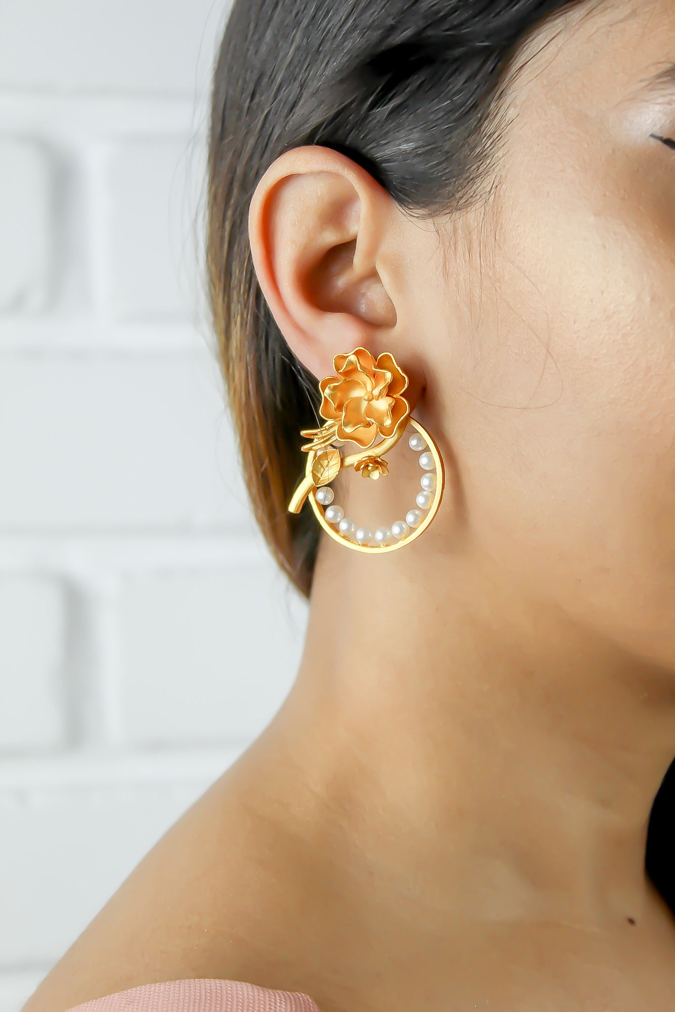 Pendientes Golden Rose Statement