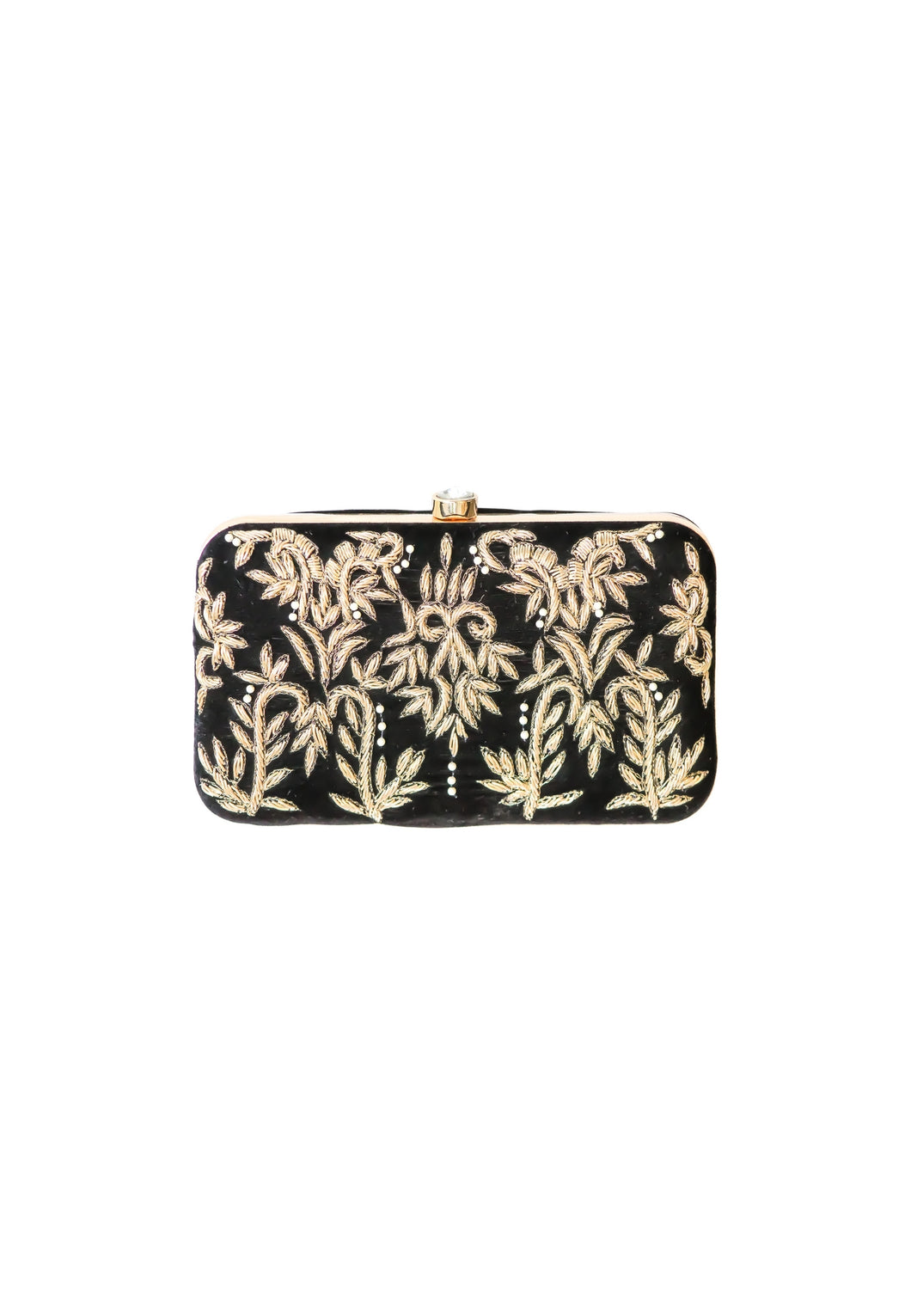 Black Royal Charm Clutch with Stone Opening