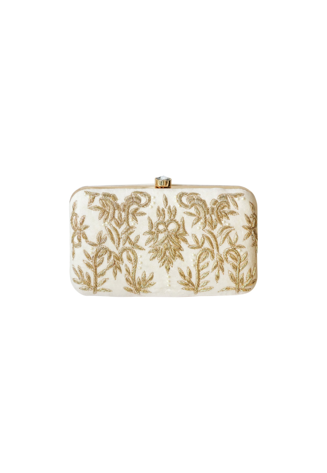 White Royal Charm Clutch with Stone Opening