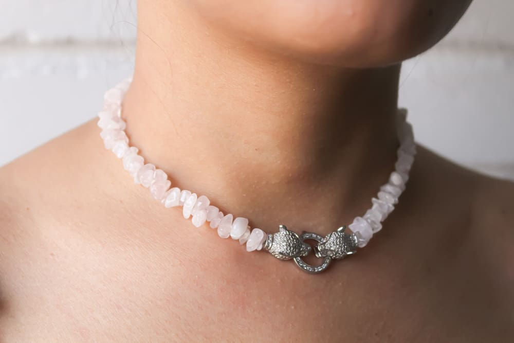 Κολιέ Gemstone Choker - amatista, choker, collar, cuarzo rosa, customize