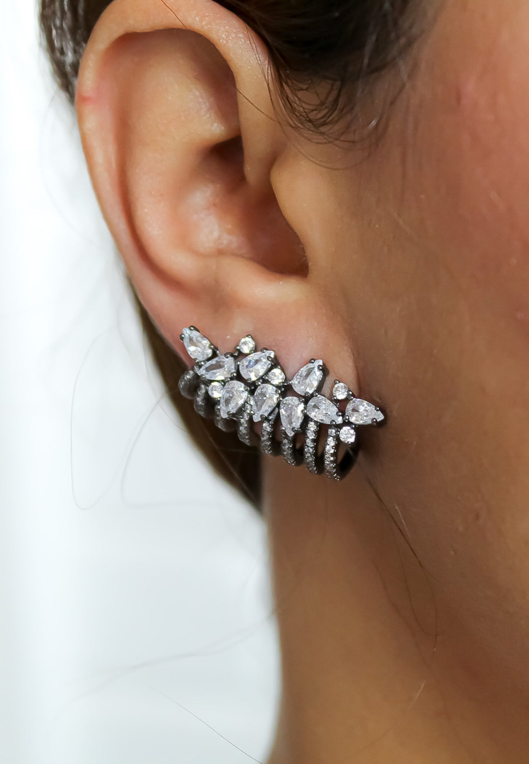 London Climber Earrings with Stones