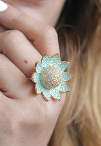 Lotus Ring s Encrusted Zircons