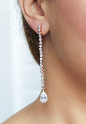 Long earrings for bride with white zircons