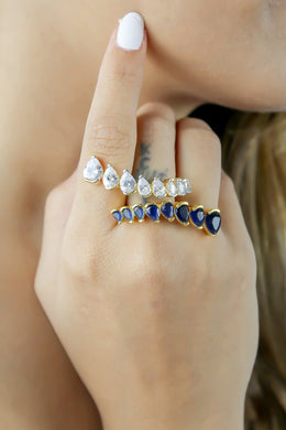 Crystal Spikes Ring Bombay Sunset