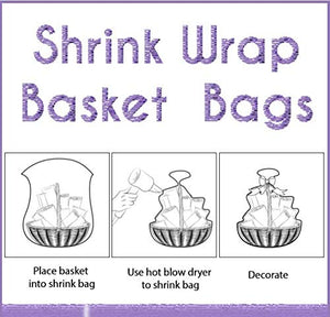 "Shrink Wrap 5 Pack Basket Bags for Gift Baskets Clear Cellophane PVC Shrink Bags 32""x 40"""