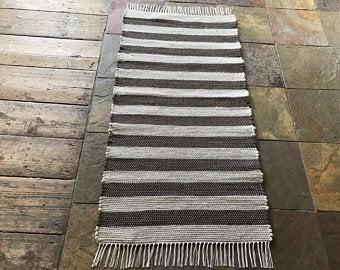 VERMONT WOVEN 2x4 Wool Rug / brown,grey stripes