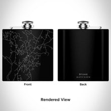Load image into Gallery viewer, Stowe - Vermont Map Hip Flask in Matte Black